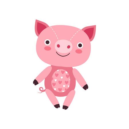 Cute soft pink piggy plush toy, stuffed cartoon animal vector Illustration on a white background Ilustração
