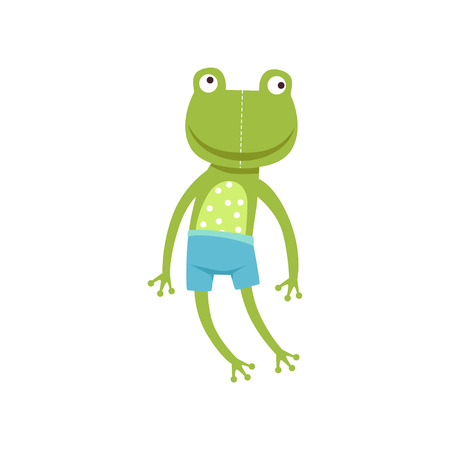 Cute soft frogling plush toy, stuffed cartoon animal vector Illustration on a white background Çizim