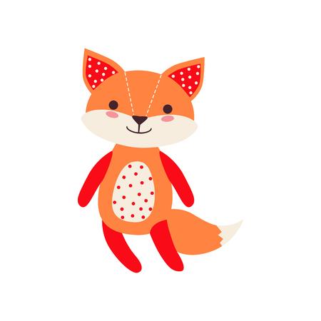 Cute soft fox pup plush toy, stuffed cartoon animal vector Illustration on a white background