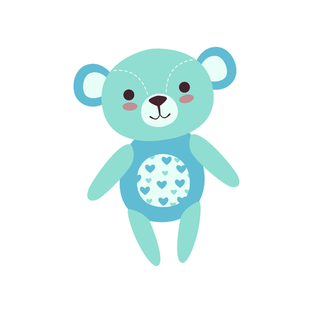 Cute light blue teddy bear soft plush toy, stuffed cartoon animal vector Illustration on a white background