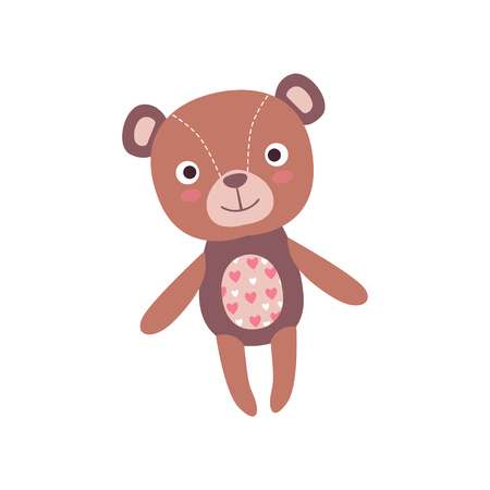 Cute soft teddy bear plush toy, stuffed cartoon animal vector Illustration on a white background