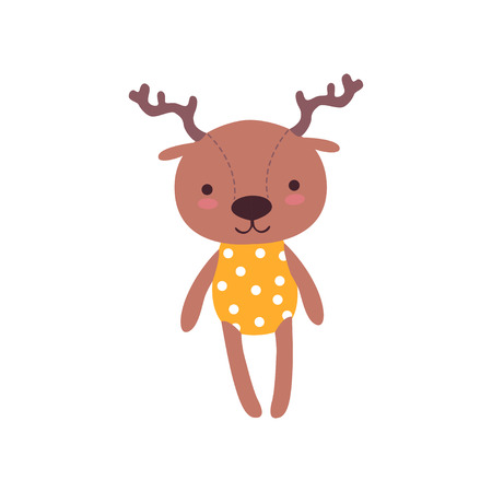 Cute soft baby deer plush toy, stuffed cartoon animal vector Illustration on a white background