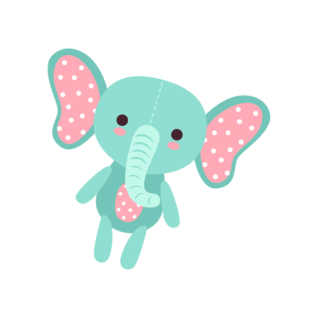Cute soft baby elephant plush toy, stuffed cartoon animal vector Illustration Ilustração