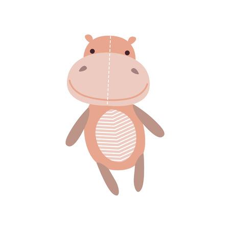 Cute soft hippo plush toy, stuffed cartoon animal vector Illustration on a white background