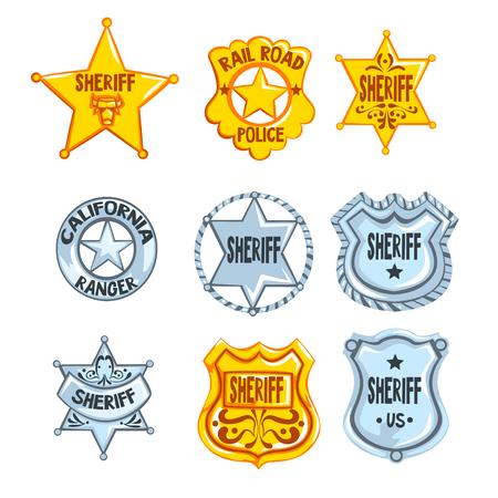 Verzameling van verschillende sheriff-, spoorwegpolitie- en rangers-insignes. Cop s gouden en zilveren lopers. Cartoon emblemen in vlakke stijl. Politieagent symbool. Vector illustratie geïsoleerd op een witte achtergrond. Stock Illustratie