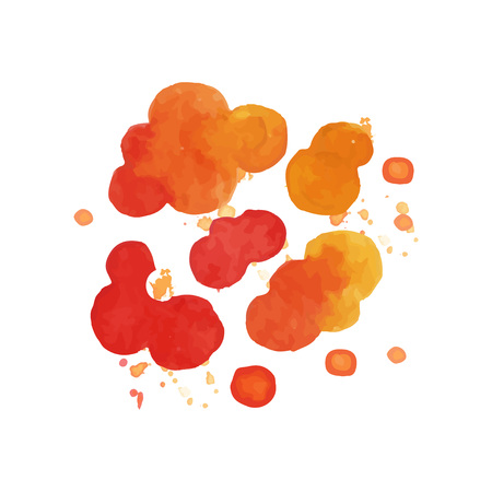 Bright watercolor painting of fire explosive clouds. Bang effect in red and orange color. Vector illustration isolated on white. Colorful design element for postcard decoration, banner or poster.