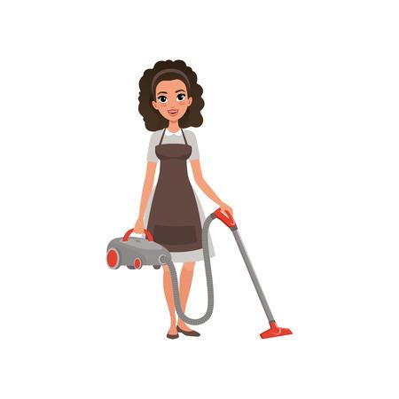 진공 청소기와 호텔 하 녀의 만화 캐릭터입니다. 회색 곱슬 머리와 갈색 앞치마에 곱슬 머리 젊은 여자. 집 청소 서비스. 직장에서 전문가. 플랫 벡터  일러스트