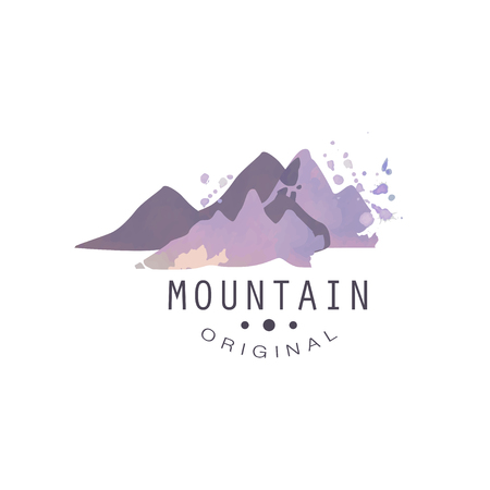 Mountain original, tourism, hiking and outdoor adventures emblem, retro wilderness badge vector Illustration on a white background