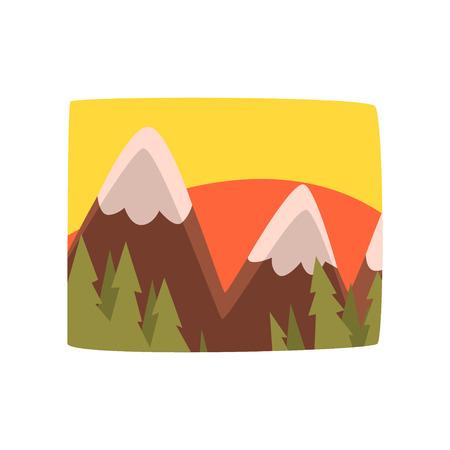 Zonsopgang in de bergen, de mooie achtergrond van het de zomerlandschap, horizontale vectorillustratie op een witte achtergrond Stock Illustratie