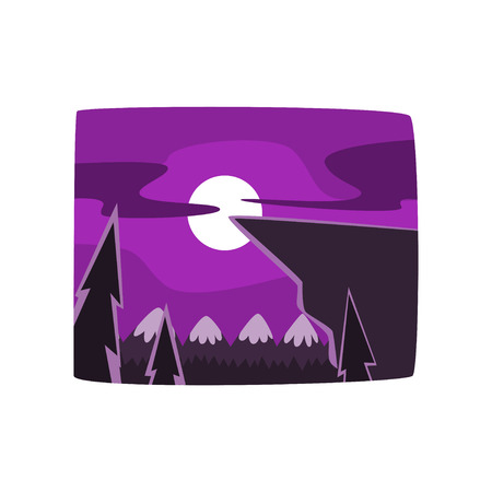 Mountains and forest at night time, beautiful landscape background, horizontal vector illustration on a white background Stock Vector - 94140468