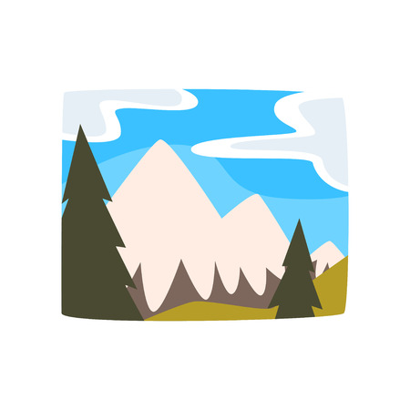 Snowy mountains and blue sky with clouds, beautiful summer landscape background horizontal vector illustration on a white background Illusztráció