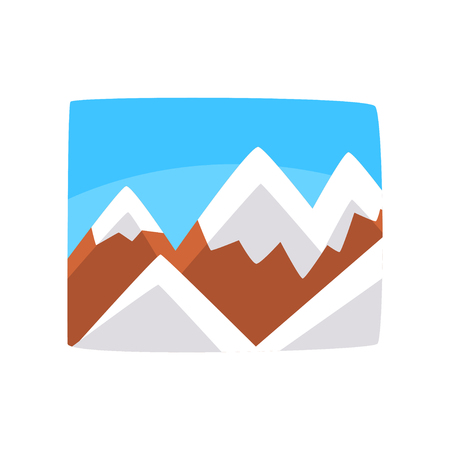 Snowy rocky mountains and blue sky, beautiful landscape background, horizontal vector illustration on a white background