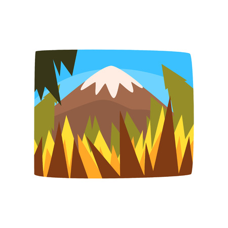 Mountains in sunny day, beautiful summer landscape background, horizontal vector illustration on a white background Illustration