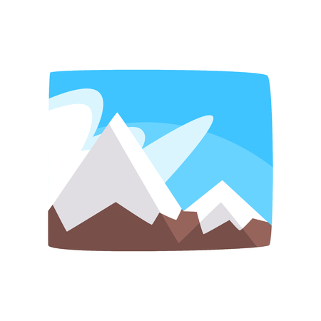 Snowy rocky mountains and blue sky, beautiful winter landscape background, horizontal vector illustration on a white background