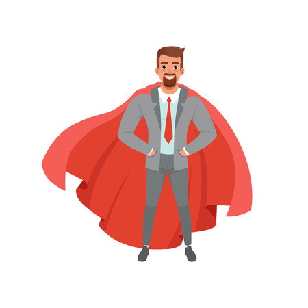 Bearded business man in stylish gray suit, shirt, red tie and superhero mantle. Cartoon male character standing with hands in pockets. Concept of successful office worker. Isolated flat vector design. Ilustração