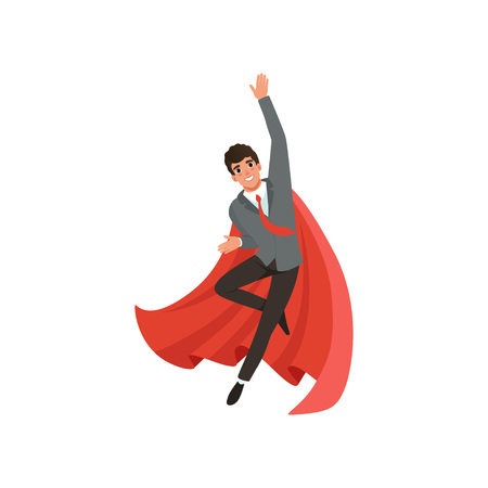 Young business man in formal suit, red tie and superhero cloak. Cartoon guy character in flying action. Career advancement. Successful office worker with happy face expression. Flat vector design. Illusztráció