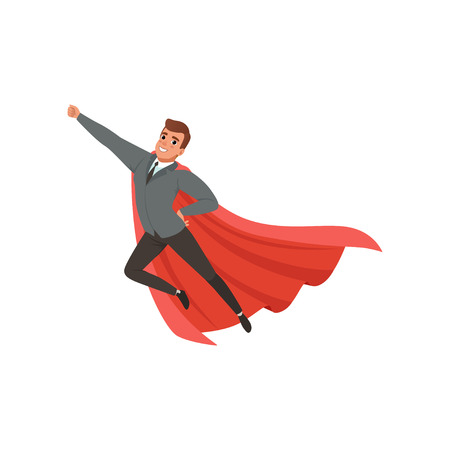 Cartoon character of businessman with superhero mantle flying with hand up. Cheerful caucasian male in classic suit gray jacket, black pants, tie and blue shirt. Office worker. Flat vector design. Çizim