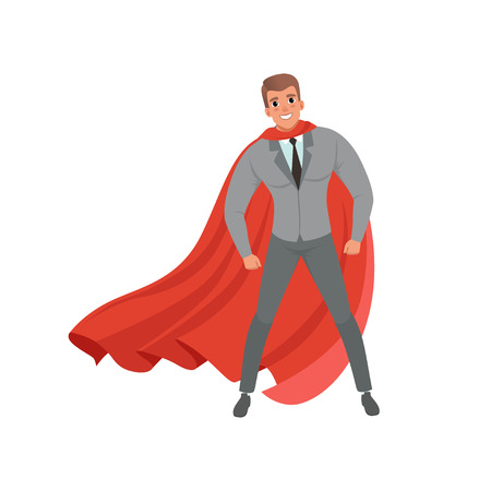 Young confident business man with red superhero cape standing in powerful position. Handsome male character in stylish gray suit, blue shirt and black tie. Flat vector illustration isolated on white. Çizim