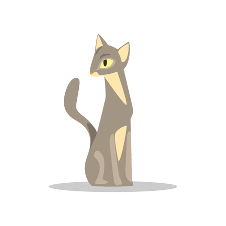 Elegant short-haired cat with gray-beige color and yellow eyes. Cartoon character of mammal domestic animal. Flat vector illustration isolated on white. Graphic design for book cover, sticker or flyer