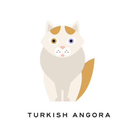 Turkish angora cat. Cartoon pet character. Domestic animal with white fur, red markings on head and tail, pink nose, one blue and one amber eye. Isolated flat vector design for zoo shop or vet clinic. Zdjęcie Seryjne - 94147711