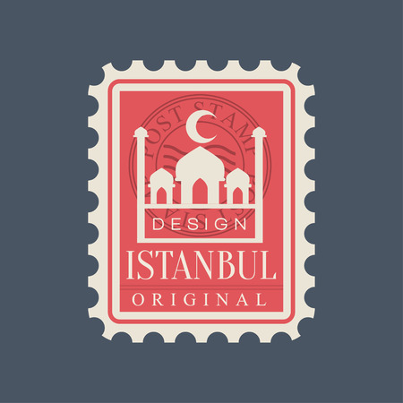 Rectangular postage stamp of Istanbul city with Blue Mosque silhouette. Symbol with famous Turkish landmark. Original flat vector design icon in red color Çizim
