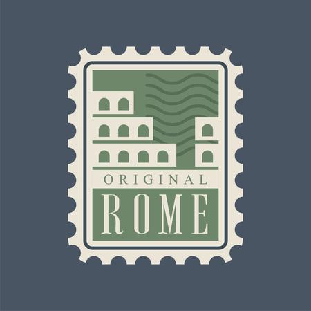 추상적 인 콜로세움 실루엣과 로마 도시 우편입니다. 이탈리아 자본 기념물입니다. 유명한 건축 랜드 마크입니다. 녹색에서 원래 웹 아이콘입니다. 파