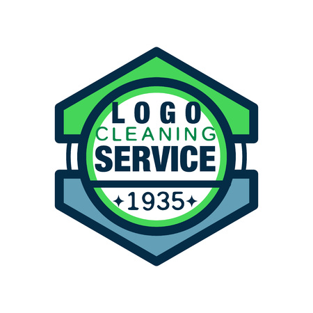 home and office cleaning agency. Premium quality services. Line style icon with green and blue fill. Flat vector for business card, poster or flyer