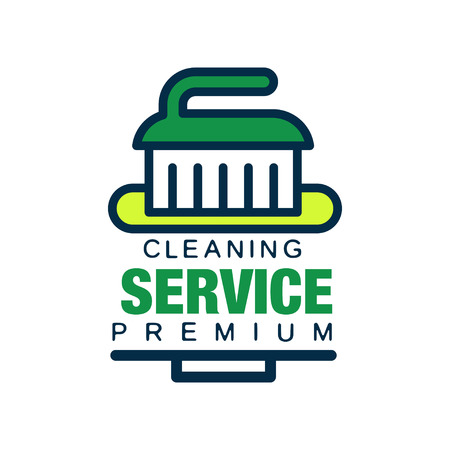 cleaning agency with brush. Professional cleaner help for housekeeping. Premium quality services. Flat vector design for company, banner or poster