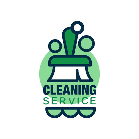 cleaning service with brush and green circles. Professional cleaner help for housekeeping. Simple flat icon. Vector for card, poster or flyer Ilustração