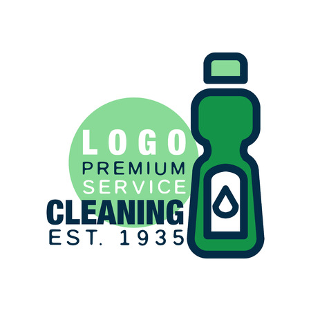 Cleaning service logo template. Detergent bottle icon in line style with green fill. Flat design element for business card, poster or banner. Place for text. Vector illustration isolated on white. Illustration