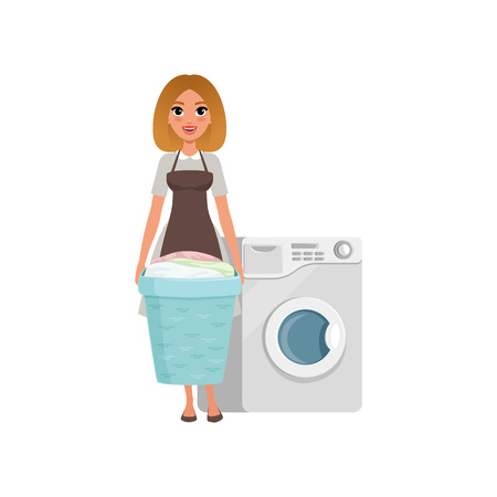 Cheerful girl standing and holding laundry basket near washing machine. Cartoon character of hotel maid in dress and apron.