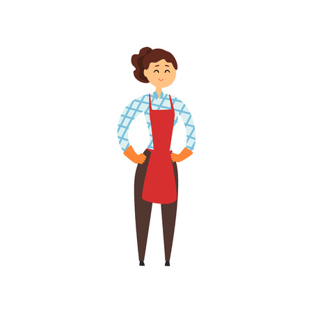 Cheerful hotel maid in apron, pants, checkered blouse and protective rubber gloves. Cleaning service concept. Woman standing with arms akimbo. Ilustração