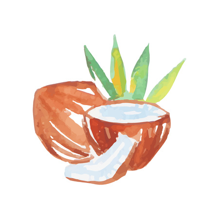 Whole and broken coconuts halves with milk and green palm trees. Colorful watercolor painting. Tropical fruit. Natural product design. Hand drawn vector illustration isolated on white background. Ilustração