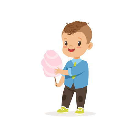 Kid standing with sweet cotton candy Vettoriali