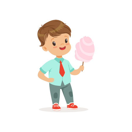 Cartoon little boy standing and holding big stick of cotton candy. Kid with cheerful face expression wearing casual clothes blue shirt and jeans. Flat vector design