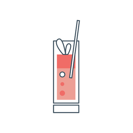 Fresh Mai Tai cocktail with drinking straw and leaves of mint. Icon in linear style with pink fill. Design for invitation card or cafe menu. Flat vector illustration isolated on white background. Illustration