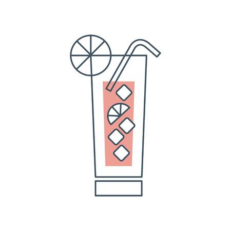 Verse mojitococktail met ijs, schijfje limoen en rietje. Glazen beker met alcoholische drank. Origineel pictogram met zwarte omtrek en rode opvulkleur. Platte vectorillustratie geïsoleerd op wit