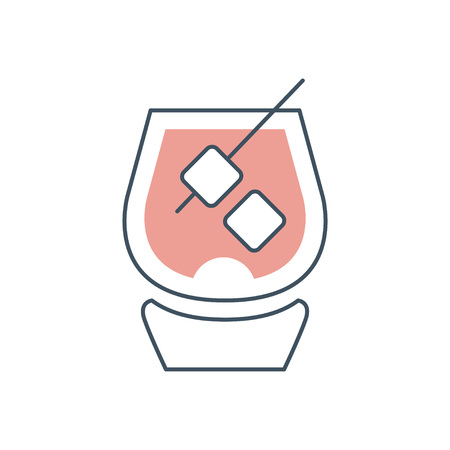 Glass of brandy with ice cubes. Concept of strong alcoholic beverage. Simple icon with black outline and pink fill color. Flat vector design for logo, bar or menu