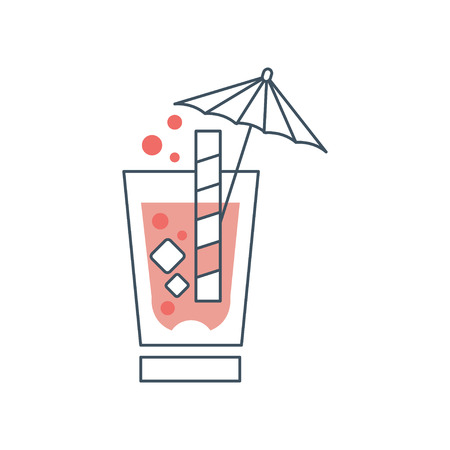 Summer cocktail with cubes of ice, bubbles, straw and decorative umbrella. Simple drinking glass sign in thin line style with pink fill. Isolated vector design for logo Illustration
