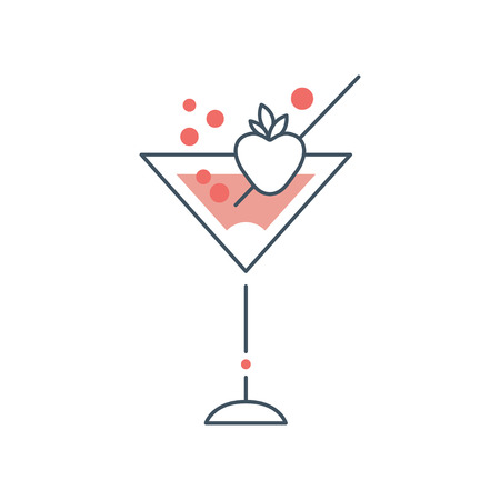 Delicious martini cocktail in glass with strawberry. Alcoholic beverage. Icon in linear style with pink fill. Isolated flat vector design for menu, logo or sticker