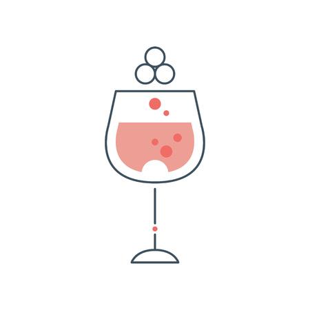 Glasbeker rode wijn. Concept alcoholische drank in dunne lijnstijl met roze vulling. Origineel grafisch element voor uitnodigingskaart. Stock Illustratie