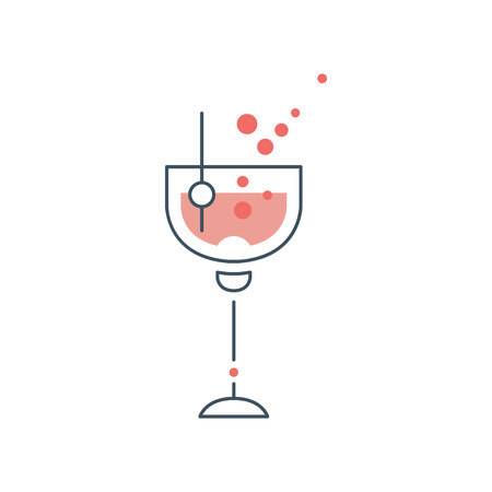 Glass of alcoholic cocktail with olive on toothpick. Concept of alcohol drink. Icon in line style with pink fill. Isolated vector  design for cafe or bar Illustration