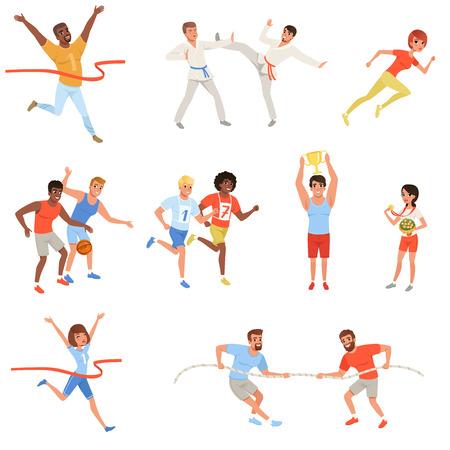 Sportmensen die deelnemen aan verschillende wedstrijden. Basketbalspelers, karate jagers, mannen in touwtrekken, atleten kruisen finishlijn rood lint, man en vrouw met trofeeën. Set van platte vector.