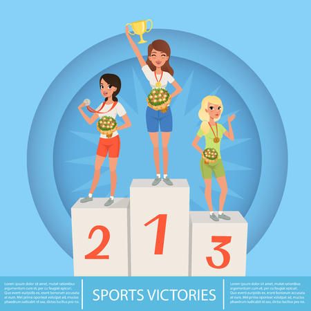 Three female athletes with trophy and medals on pedestal against blue circle background. Sport competition. Awards ceremony. Cartoon young girls characters in sportswear. Colored flat vector design. Иллюстрация
