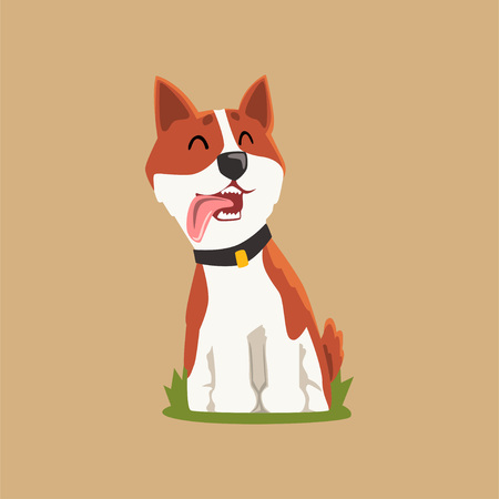 Colorful illustration of welsh corgi on green lawn. Adorable puppy sitting with tongue hanging out. Cartoon character of domestic dog. Isolated flat vector design for print, postcard or sticker.
