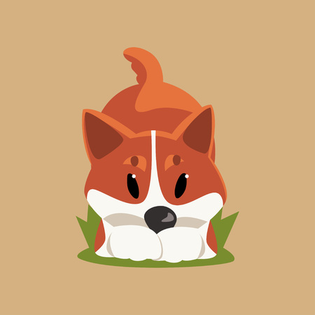 Cartoon character of red-haired welsh corgi dog in playful pose. Puppy having fun on green grass. Purebred domestic animal in flat style. Isolated vector illustration for print, sticker or postcard.