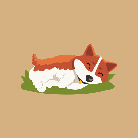 Funny little corgi sleeping on green lawn. Cartoon character of red-haired dog with cute muzzle. Purebred domestic animal. Isolated vector illustration in flat style for sticker, print or postcard.  イラスト・ベクター素材