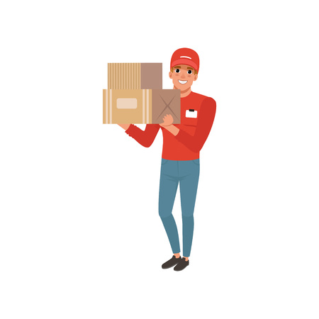 Cartoon courier character holding two cardboard boxes in hands. Cheerful young man in red cap, sweater and blue jeans. Worker of delivering service.