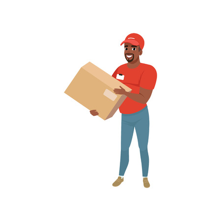 Bearded Afro-american man delivering package. Cartoon courier character dressed in red t-shirt, cap and blue jeans. Concept of delivery service. Stock Vector - 94271245