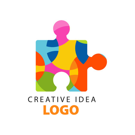Creative idea geometric template with abstract colorful puzzle piece. Education business or development center label. Flat design vector on white.